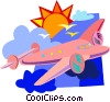 Vector Clip Art graphic  of an airplane soaring through the