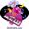 piano, brass instrument Vector Clipart picture