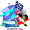 Plane, racing cars Vector Clipart picture