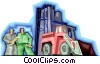 construction workers with heavy equipment Vector Clip Art picture