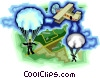 People parachuting from airplane Vector Clipart illustration