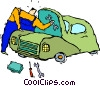 Vector Clipart graphic  of a mechanic fixing a car