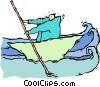 Vector Clip Art graphic  of a person in a boat