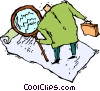 Vector Clip Art image  of a man with a magnifying glass