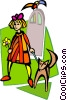 Vector Clipart picture  of a woman walking dog