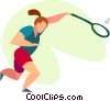 Vector Clipart graphic  of a Badminton player