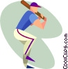 baseball player Vector Clipart illustration