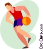 Vector Clip Art image  of a basketball player