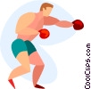 Vector Clipart image  of a Boxer sparring