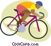 Man riding ten speed bicycle Vector Clipart image