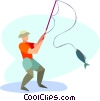Vector Clip Art graphic  of a man catching fish