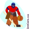Vector Clipart image  of a hockey goalie