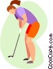 women golfer putting Vector Clipart picture