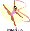 Vector Clip Art image  of a Women performing the floor