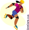 Vector Clip Art graphic  of a women roller balding