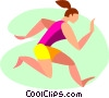 Vector Clip Art graphic  of a Gymnast performing the floor
