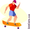 Vector Clip Art picture  of a boy skate boarding