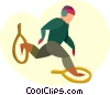 Vector Clipart image  of a man snow shoeing