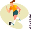 Vector Clipart graphic  of a women playing soccer