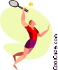 Vector Clipart graphic  of a Man playing tennis