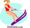 Vector Clipart graphic  of a women water skiing