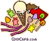 ice cream and other confections Vector Clipart graphic