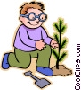 Vector Clip Art graphic  of a little boy planting a sapling
