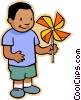 boy with pinwheel Vector Clip Art picture