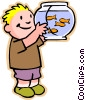 Vector Clip Art graphic  of a little boy with fish bowl