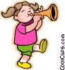 Vector Clip Art picture  of a Little girl with trumpet