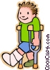 Vector Clipart picture  of a boy with broken leg