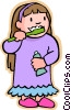 little girl with toothbrush, brushing teeth Vector Clipart graphic