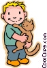 Vector Clip Art picture  of a little boy with cat