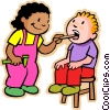 little girl and boy playing doctor Vector Clip Art graphic