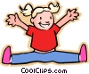 Vector Clip Art picture  of a little girl jumping for joy