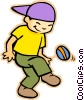 little boy playing with a ball Vector Clip Art graphic