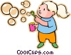 Vector Clipart graphic  of a Little girl blowing bubbles
