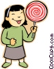 little girl with sucker Vector Clipart graphic