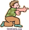 Vector Clip Art image  of a little boy playing war