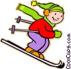 Vector Clip Art image  of a little boy skiing
