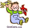 Vector Clip Art graphic  of a little boy with model