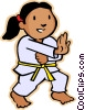 Vector Clip Art graphic  of a little girl in martial arts