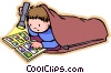 Little boy with sleeping bag Vector Clip Art picture