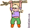 little girl hanging on a branch Vector Clipart graphic