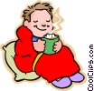 Vector Clipart illustration  of a little boy with hot cup of