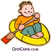 Vector Clip Art graphic  of a little boy in rubber raft