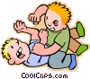 Vector Clip Art picture  of a Kids fighting