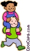 little boy with girl on his shoulders Vector Clip Art graphic