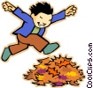 little boy jumping through a pile of leaves Vector Clipart graphic