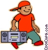 Vector Clipart illustration  of a little boy with his portable